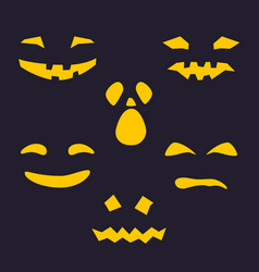 silhouette of scary smug face for pumpkin vector image