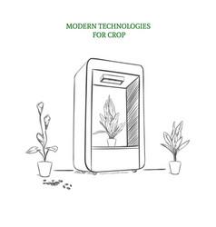 Sketch modern botanical technology concept vector