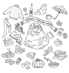 sketchy hand drawn doodle cartoon set of objects vector image