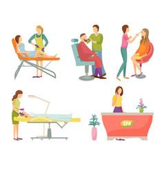 Spa salon visagiste and barber icons set vector