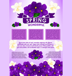 Spring floral poster with flower bouquet design vector
