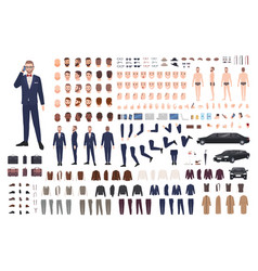 Stylish man dressed in elegant suit creation set vector