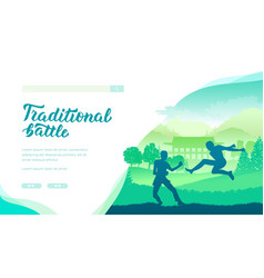 traditional battle landing page template vector image
