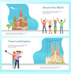 travel banner template design set vector image