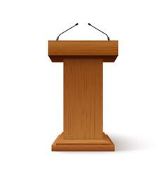 Tribune podium rostrum speech stand conference vector