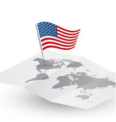 usa flag on blank world map abstract travel vector image