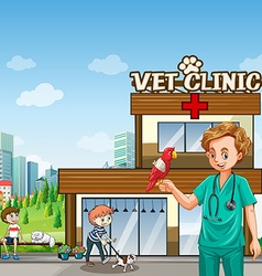 Vet and many pets at the clinic vector