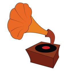 vintage brown and orange gramophone with black vector image
