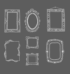 vintage photo frame in doodle style hand drawn vector image