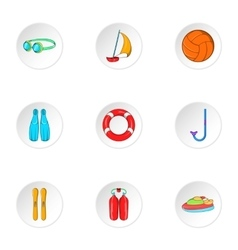 Water exercise icons set cartoon style vector