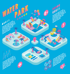 Water park isometric infographics vector