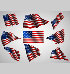 waving usa flag isolated flag ico vector image