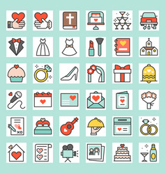 Wedding related filled outline icon size 128 px d vector