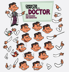 White doctor template wiht body elements vector