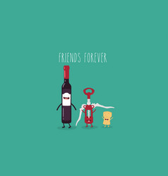 wine and corkscrew friends vector image