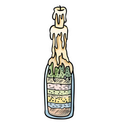 Witch bottle doodle sketch bottle filled with vector