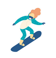 woman in snow suit snowboarding female vector image
