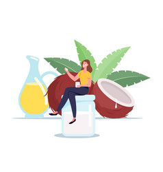 woman use coconut oil concept tiny female vector image