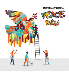 World peace day card of diverse people team work vector