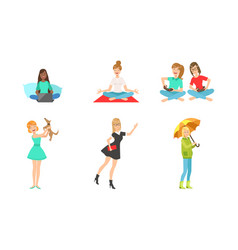 young women daily routines set girls working with vector image
