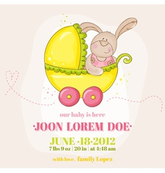 Baby Girl Arrival Card - with Baby Bunny vector image vector image