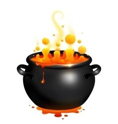 Black cauldron with orange witches potion vector image