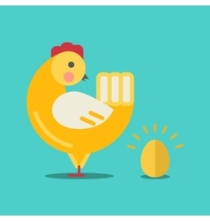 Cute cartoon chicken and gold egg vector image