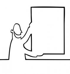 man holding a bulletin board vector image vector image