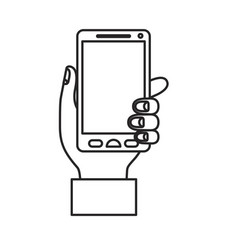 monochrome silhouette of hand holding smartphone vector image vector image