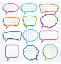set of colorful paper speech bubbles vector image vector image