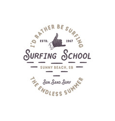 Surfing school vintage emblem retro logo design vector