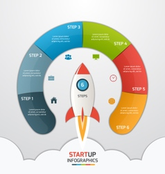 6 steps startup circle infographic with rocket vector image vector image