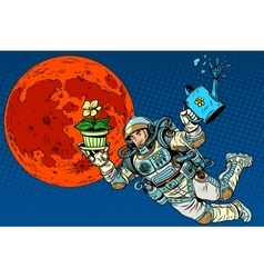 Ecology and science Mars astronaut plants vector image