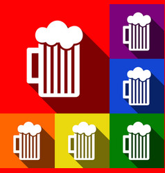 Glass of beer sign set of icons with flat vector