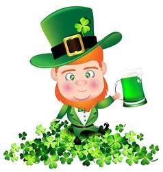 Irish man irish man hold beer on Shamrock for St vector image vector image
