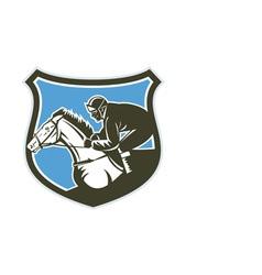 Jockey Horse Racing Side Shield Retro vector image vector image