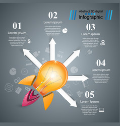 Rocket bulb icon abstract vector