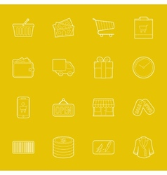 Shopping thin lines icons set vector image
