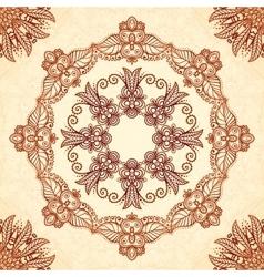 Vintage mandala seamless pattern in Indian mehndi vector image