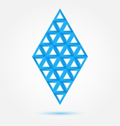 Blue symbol made of triangles - abstract rhombus vector image