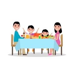 cartoon happy family festive dinner table vector image vector image