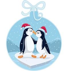 CCute Christmas Penguins Kissing Cartoon vector image vector image