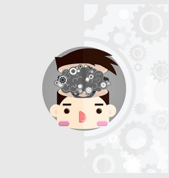 head with cog brain vector image vector image