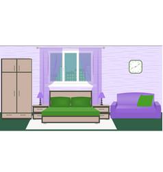hotel room bedroom interior with bed wardrobe vector image