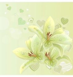lilies and hearts background vector image vector image