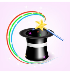 Magic hat with magic wand vector image