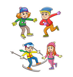 set of children playing in the winter vector image vector image