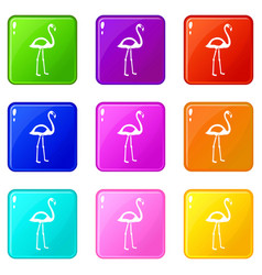 flamingo icons 9 set vector image vector image