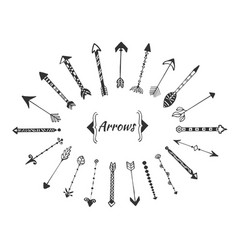 Hand drawn arrows collection with ink elements vector