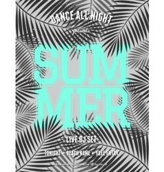 summer party palm leaves neon blue text flyer vector image vector image
